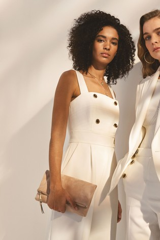 7d0f04e3f1bb Buy Karen Millen White Wide Leg Tailored Jumpsuit from the Next UK ...