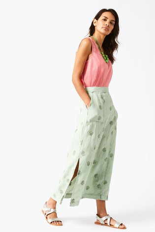 66757edc66 Buy White Stuff Green Roller Linen Maxi Skirt from the Next UK ...