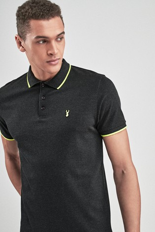 daa57db5b64 Buy Charcoal Neon Tipped Polo from the Next UK online shop