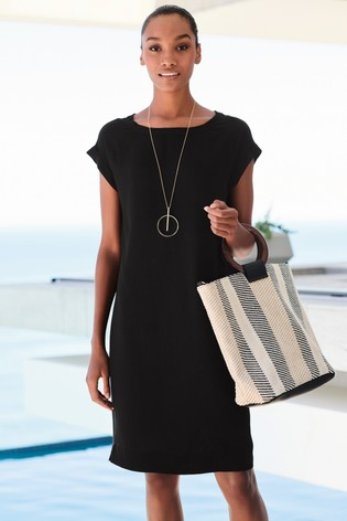 bb03e238d4 Buy Solid Black Woven Boxy T-Shirt Dress from the Next UK online shop