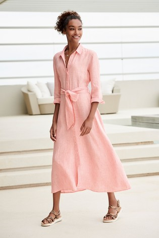 aaf36f4c01c Buy Pink Linen Midi Dress from the Next UK online shop