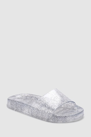 0a8d049c9096 Buy Silver Glitter Jelly Sliders (Older) from the Next UK online shop