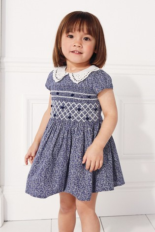 fb2584ef95a7 Buy Navy Shirred Collar Dress (3mths-7yrs) from the Next UK online shop