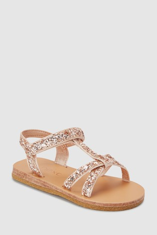 2272cebb0 Buy Rose Gold Glitter T-Bar Sandals (Younger) from the Next UK ...