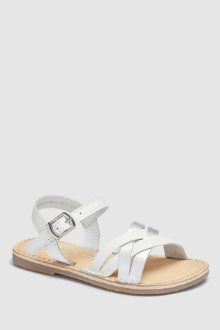 7c3f12dc7fb3 Buy White Silver Woven Sandals (Younger) from Next Saudi Arabia