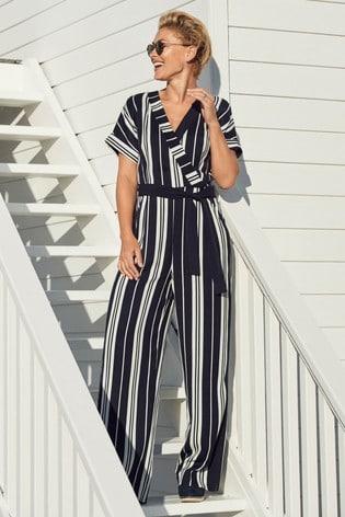 7c210d94d466 Buy Navy White Stripe Emma Willis Wrap Jumpsuit from the Next UK ...