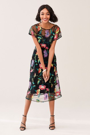 b4a518dcddcd43 Buy Black Floral Embroidered Mesh Midi Dress from the Next UK online ...