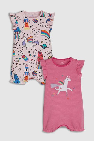 318b47b9c Buy Pink Space/Unicorn Print Rompers Two Pack (0mths-2yrs) from the ...