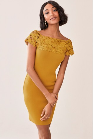 fb29adc9c90f2a Buy Ochre Lace Bardot Dress from Next Kuwait