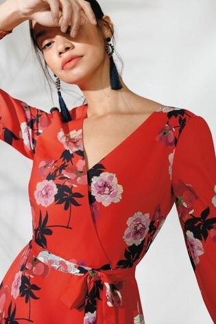 fbd2d8c790cb Buy Oasis Red Botanical Scarf V-Neck Skater Dress from Next India
