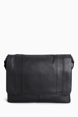 99f4c4394bc23b Buy Black Signature Leather Panelled Messenger from Next Lebanon