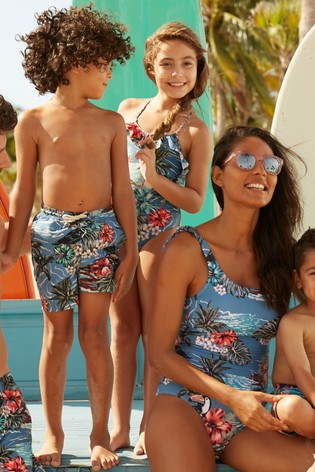 a5eb6392d114d Buy Blue Matching Family Girls Hawaiian Print Swimsuit (12mths-16yrs ...