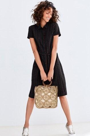 d0cf5bca88130 Buy Black Textured Shirt Dress from the Next UK online shop
