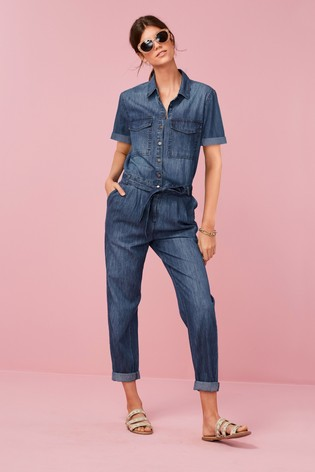 b2bd5b3b5a9 Buy Dark Blue Short Sleeved Denim Boilersuit from the Next UK online ...