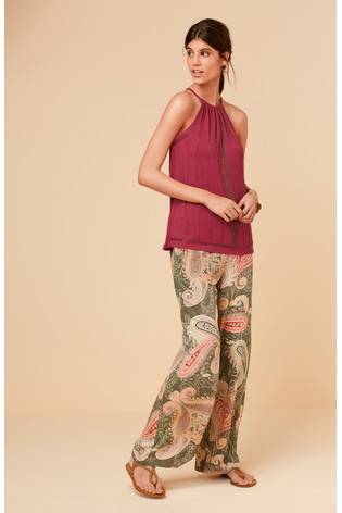 43fe77d26c7 Buy Khaki Paisley Wide Leg Trousers from the Next UK online shop