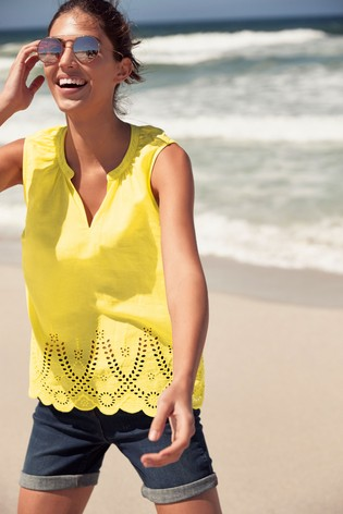 fb2817079792 Buy Yellow Broderie Shell Top from the Next UK online shop