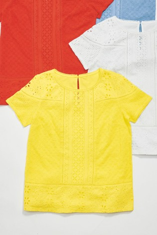 e6653aac4c34 Buy Yellow Broderie Front T-Shirt from the Next UK online shop