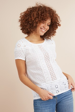 5419e401d370 Buy White Broderie Front T-Shirt from Next Ireland