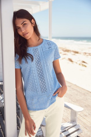 5696a299dfb8 Buy Blue Broderie Front T-Shirt from Next New Zealand