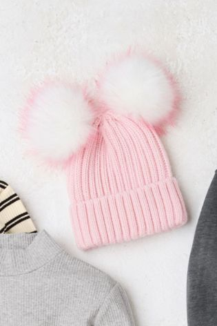 Buy Pink Double Pom Beanie Hat (Older) from Next Finland 2c22cbafb0e