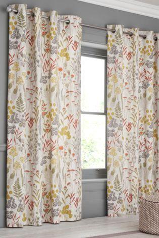 Woodland Sprig Print Eyelet Curtains