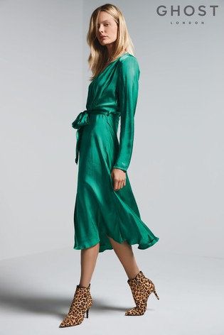 Green Button Through Satin Dress