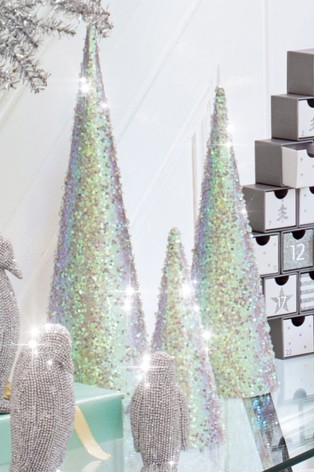 set of 3 iridescent glitter trees