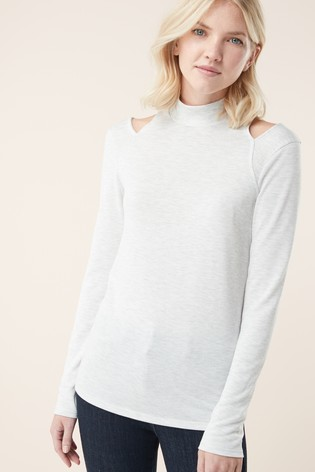 b327c8bfbc2e3d Buy Grey Cold Shoulder Top from Next Malta