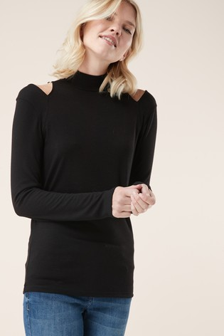 a03d4856fb6c54 Buy Black Cold Shoulder Top from Next Malta