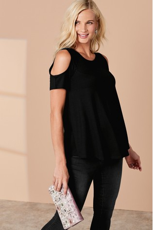 ee191afd3fcfd1 Buy Black Maternity Cold Shoulder Top from Next Malta