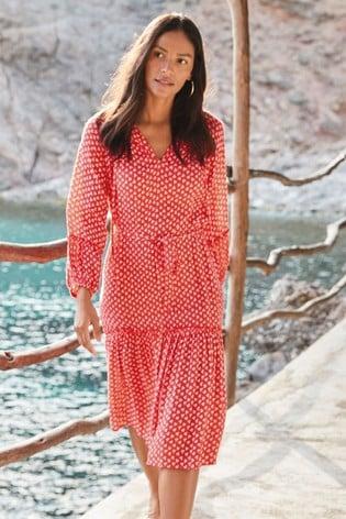 Buy Red Ditsy Print Long Sleeve Dress from Next Hong Kong 41bc5bbd51