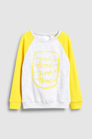 1b5fb54f7012 Buy Grey Yellow Crew Neck Sweat (3-16yrs) from Next Hong Kong