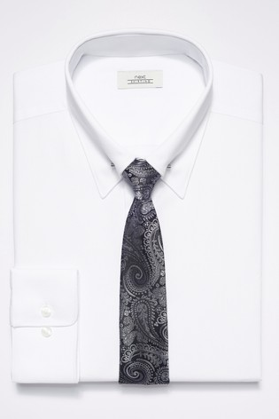 daf55bb95cd Buy White Pin Collar Slim Fit Shirt With Paisley Tie Set from Next ...