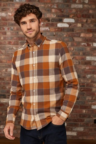 85c1fda426 Buy Ecru Brown Long Sleeve Flannel Check Shirt from Next Slovakia