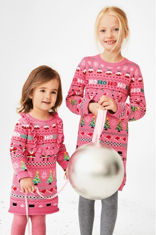 Kersttrui Matching.Buy Pink Girls Christmas Wrapping Paper Jumper Dress 3 16yrs From