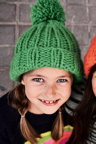 1ae069665 from Next Slovakia Buy Green Hand Knitted Pom Beanie Hat (Staršie)