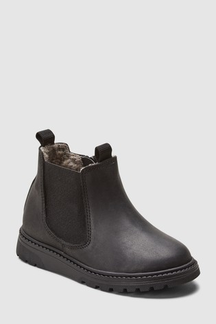 Next Chelsea Buy Netherlands Black Boots From Leather Borg Lined 00HwUFxq