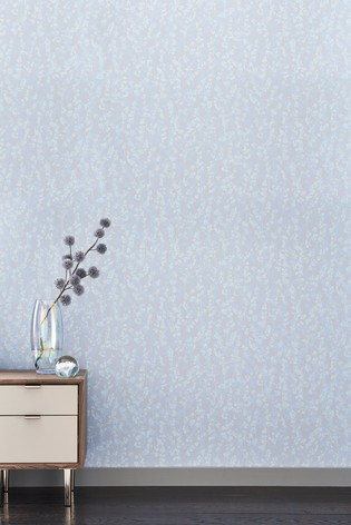 Paste The Wall Berry Blue Grey Wallpaper