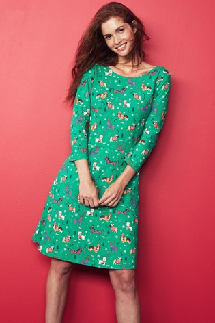 green womens christmas print dress