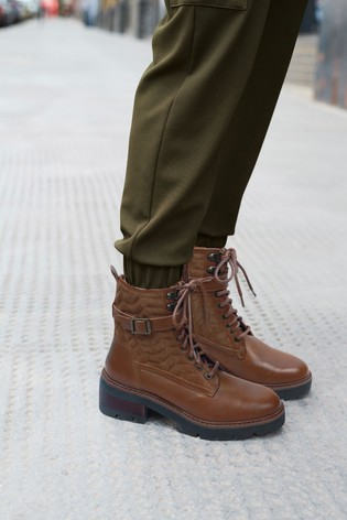 tan lace up heeled boots