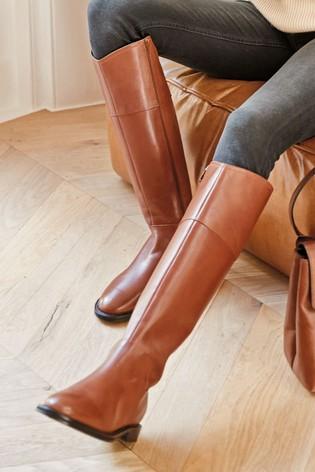 Buy Tan Signature Flat Riding Boots
