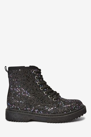 Buy Black Glitter Lace-Up Boots (Older