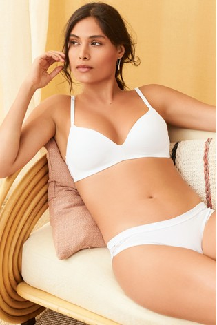 6805d8ab0b5 Buy White Lightly Padded Non Wired Organic Cotton Bra from the Next ...