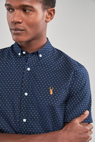 cb5ea8b9 Buy Navy Print Slim Fit Short Sleeve Stretch Oxford Shirt from the ...
