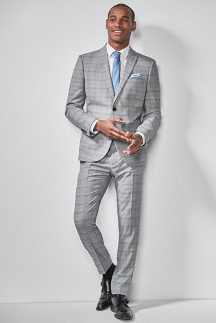 b24ed3bdefe4 Buy Light Grey/Blue Skinny Fit Check Suit: Jacket from the Next UK ...