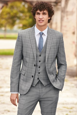 151b44a90853 Buy Light Grey Regular Fit Check Suit: Jacket from the Next UK ...