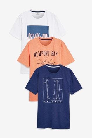 426b81c8 Buy Navy/White/Orange Graphic T-Shirts Three Pack from the Next UK ...