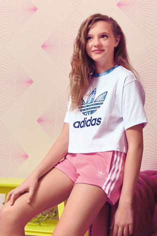 ddafe3064ab Buy adidas Originals Pink/Blue Marble Trefoil Cropped Tee from the ...