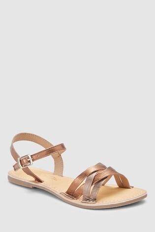8c96aada0 Buy Bronze Woven Leather Sandals (Older) from the Next UK online shop