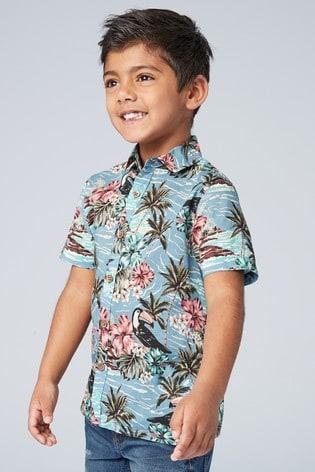 74d937b80 Blue Matching Family Boys Short Sleeve Hawaiian Print Shirt (3-16yrs) ...